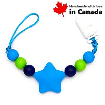 Pacifier Clip - Shooting Star (Purple)/High Teething Silicone Beads, Handmade in Canada Teething Toys Market