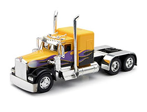 Peterbilt 389/Kenworth W900 Semi Truck Die Cast Toy - 1:32 Scale (Yellow with Purple Flames)