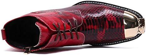 JSHS Chaussures en Cuir rétro, Bottes de Bottes de Chevalier à la Mode, Bout Pointu en métal et Design de Fermeture à glissière latérale, pour Les fêtes, Spectacles sur scène