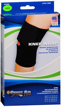 Sport Aid Knee Wrap - Black - Large, Pack of 4 by SportAid