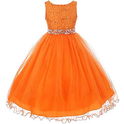 EMERCLY Sleeveless Sparkling Rhinestone Waistline Tea Length Girls Dress - Orange Size 8