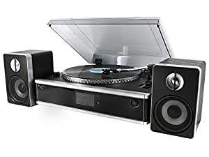 Soundmaster PL 875 - Tocadiscos (MP3, WMA, Negro, Plata, 431 x 364 x 160 mm)