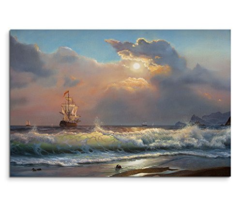 120x80cm Leinwandbild auf Keilrahmen Ölgemälde Strand Meer Wellen Segelboot Wolken Wandbild auf Leinwand als Panorama