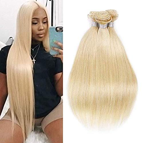 3 Bundles 613 Blonde Human Hair Bundles Silky Straight Brazilian Virgin Hair Weave 7A Blonde Unprocessed Brazilian Straight Hair Extensions 18 20 22 inch