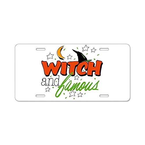 Aluminum License Plate Halloween Witch and Famous Hat ()