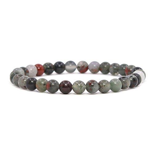 Bracelets 36 Friendship (Justinstones Natural African Bloodstone Gemstone 6mm Round Beads Stretch Bracelet 6.5