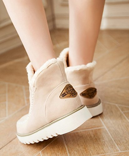 Fashion Aisun On Femme Bottines Chaussures De Neige Slip Beige ZZx57qwrF