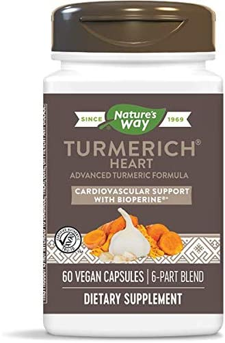 Nature s Way TurmeRich Heart Advanced Triple-Action Cardiovascular Formula with BioPerine Black Pepper Extract, 60 Plant-Based Capsules, Pack of 2