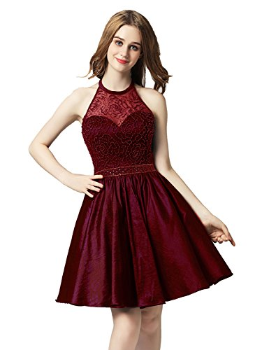 Beaded Short Dress Halter Dress (Belle House Short Homecoming Dresses 2018 For Juniors Prom Dresses Burgundy Halter Party Dresses Beading Satin Ball Gown)