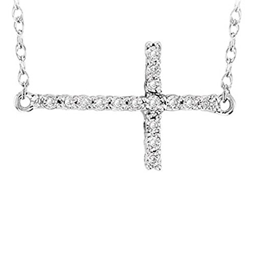 Dazzlingrock Collection 0.06 Carat (ctw) Sterling Silver Round Diamond Sideways Religious Cross Ladies ()