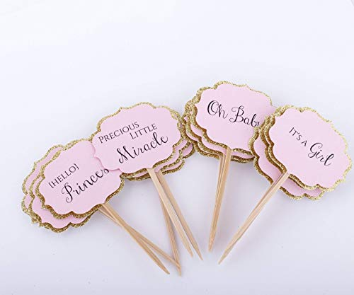 Baby Shower Decorations. Pink and Gold Baby Shower Cupcake Toppers. Baby Girl Shower Decoration -