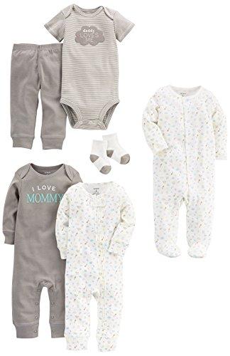 Carter's Baby 6 Basics Set + 3-Piece Bonus accessories, Gray, Newborn