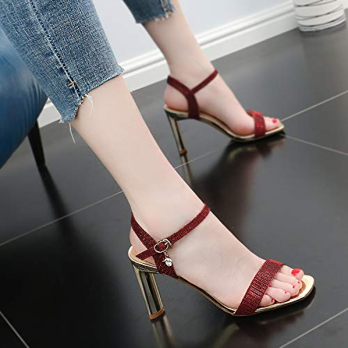 Heel SFSYDDY 9Cm Toe Temperament Sandals Word Buckle Shoes One gules Square Summer Toe Small High Rough Fresh 4WfSn6r4