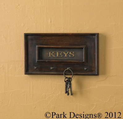 Wood & Brass Key Wall Hook-Holder By Park Designs by Park Designs (Image #1)