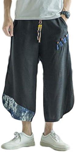 (ジュージェン)メンズ 綿麻 サルエルパンツ ゆったり ワイドパンツ 7分丈 メンズクロップドパンツ 夏 メンズガウチョパンツ ストリート カジュアル 大きいサイズ 短パン