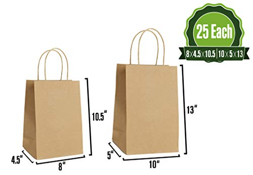 Kraft Paper Gift Bags Bulk with Handles 25Pc Each [ Ideal for Shopping, Packaging, Retail, Party, Craft, Gifts, Wedding, Recycled, Business, Goody and Merchandise Bag] (Brown) -