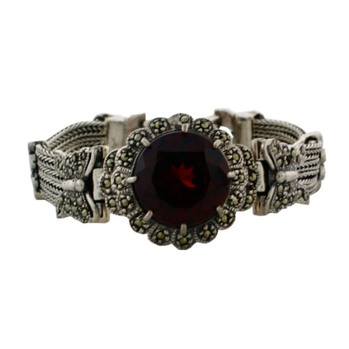 Sterling Silver, marcasite and Garnet Color Crystal 6 1/2