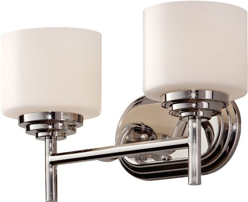 Feiss VS26002-PN Malibu Glass Wall Vanity Bath Lighting, Chrome, 2-Light (14''W x 8''H) 200watts by Murray Feiss