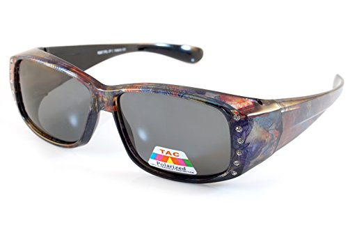 FBL Floral Pattern Bling Rectangular Polarized OTG Sunglasses P009 (Purple - Bling Sunglasses With Fit Over