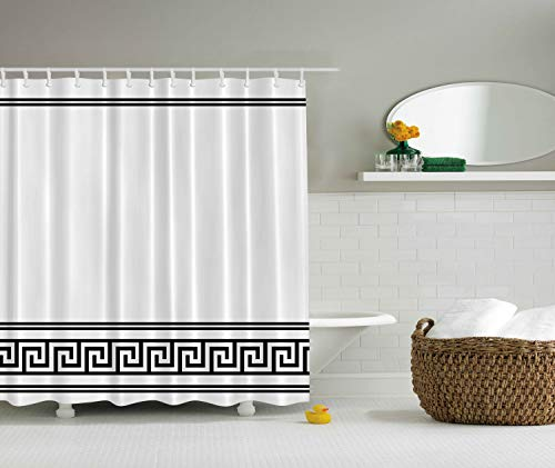Ambesonne Black and White Shower Curtain by, Ethnic Symbol of Richness Happiness Classic Decor Traditional Greek Fabric Bathroom Set Greece Art Prints Rome Design, 69 x 70 Inches, Black Print