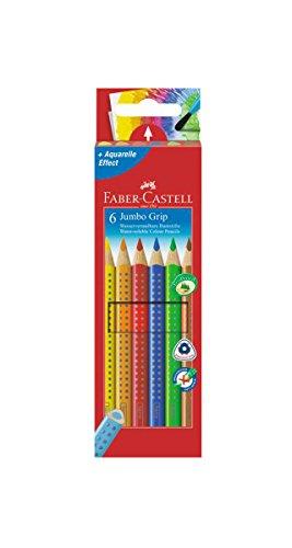 Faber-Castell 110906 Buntstifte Jumbo Grip (Inhalt: gelb, orange, rot, blau, grün und braun) 6er Kartonetui