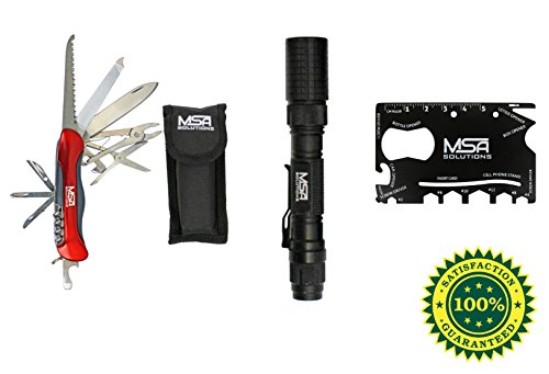 Emergency Car Kit: 10-in-1 Pocket Knife Folding Multitool, 7-in-1 Multifunction Utility Card Tool, and LED Flashlight (1000 Lumens), Nuclear Survival Kit by MSA