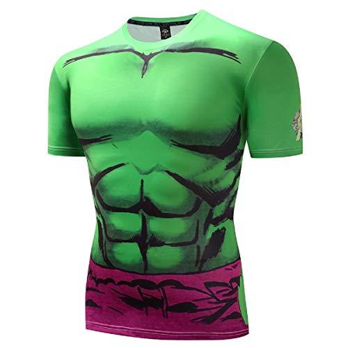 GYMGALA Men's The Hulk T-Shirt Casual and Sports Short Sleeve 3D Printed Compression Shirt (Medium, Light Green) ()