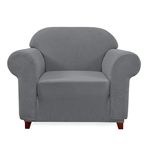 Subrtex 1-Piece Jacquard high Stretch Armchair slipcover, Furniture Protector for Sofa, Spandex Washable 1 Seater Cushion Couch Cover Coat (Chair, Light Gray)