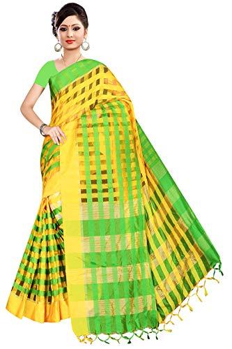 - TMS Indian Women's Party Wear Cotton Art Silk Saree Woven Sari Wedding Bollywood (Yellow/Green)