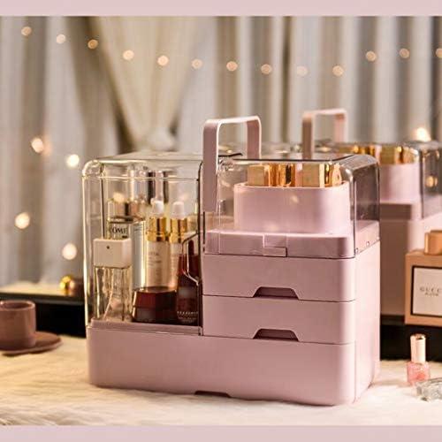 化粧品収納ボックス 家庭用デスクトップ引き出し防塵化粧品収納ボックス口紅スキンケアマスクラックアクリルホワイトピンク DSJSP (Color : Pink)