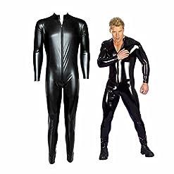 Men's Wet Look PVC Leather Long Sleeves Catsuit Jumpsuit Costumes 41MqeLV0bZL