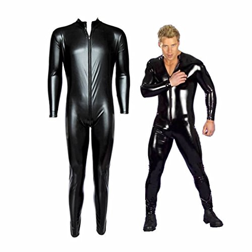 - 41MqeLV0bZL - Iffee Men's Wet Look PVC Leather Long Sleeves Catsuit Jumpsuit Costumes