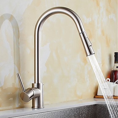 Contemporary Pull-out/­Pull-down Standard Spout Vessel Widespread Rotatable Pull out withCeramic Valve Nickel Brushed Kitchen faucet Other Regions/Countries by Zheng