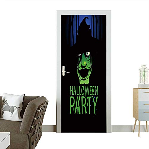 Homesonne Decorative Door Decal Halloween Party Design Template with Witch and Place for Text. Stick The Picture on The Door W36 x H79 -