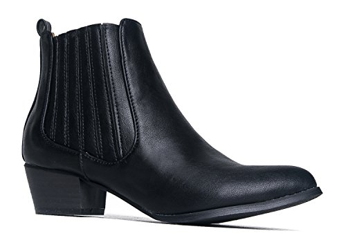 Henri Round Toe Ankle Boot, Black PU, 9 B(M) US