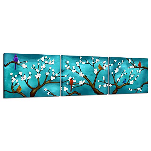 Kreative Arts Canvas Wall Art 3 Piece Spring Flowers and Cardinal Birds on Blossom Branches Picture Canvas Prints Modern Floral Peacock Blue Paintings for Bedroom Ready to Hang ()