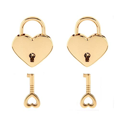 Warmtree Small Metal Heart Shaped Padlock Mini Lock with Key for Jewelry Box Storage Box Diary Book,Pack of 2,Gold