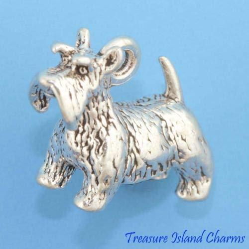 (Scottish Terrier Scottie Dog 3D 925 Solid Sterling Silver Charm Crafting Key Chain Bracelet Necklace Jewelry Accessories Pendants)