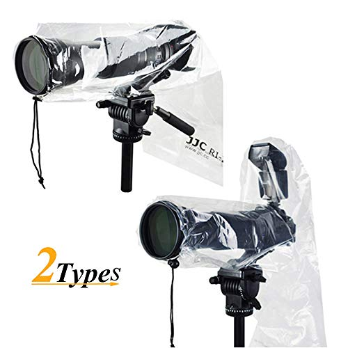 2 Types JJC DSLR Camera Rain Cover Coat Rian Sleeve Protector for Canon Nikon Fujifilm Sony Olympus Panasonic Tamron Sigma with a lens & Flash PE Material Totally See-through -2 Pack