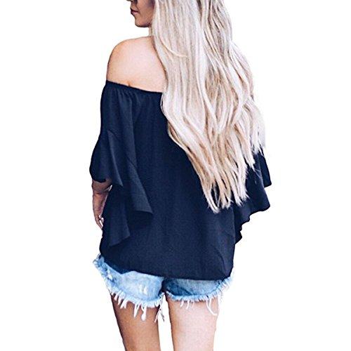 Deep Blouse en Manches Shirt Ray Soie Dnudes Manches Blue Femme De avec Shirt T Demi T N Mousseline Femmes uds L'paule Flare Papillons gxnPq1w