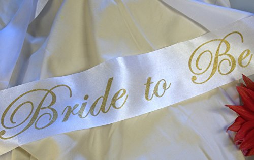 Bachelorette Party Bride Sash, Glitter Gold Letters on White Ribbon, Bride to Be - Perfect for a Bachelorette Party, Bridal Shower, Banner, Accessory, Gift, (Forever Tattoo Tank)