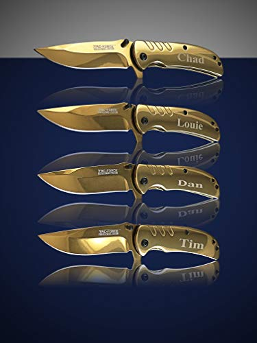 Eternity Engraving 7 Engraved Pocket Knifes, 7 Folding Pocket Knives Gift Set Personalized for Men and Women, Customized Knife Gift (Gold) by Eternity Engraving (Image #2)