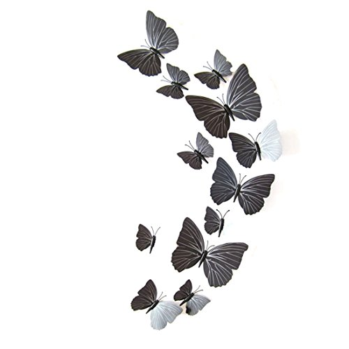 joyliveCY Abnehmbare Art Vinyl Zitat DIY Wall Sticker Aufkleber Wandbild Dekoration Zimmer 12st schwarz 3D Schmetterling
