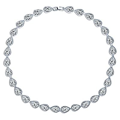 MASOP Women's Silver-tone Clear CZ Cubic Zirconia Pear Shape Teardrop Jewelry