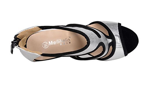 Donne YCMDM Combattiamo moda scarpe col tacco alto scarpe eleganti sandali singoli pattini , silver , 35