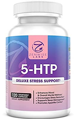 5-HTP - With 100mg of 5HTP + Vitamin B6 - Stress Relief & Mood Control Supplement - All-Natural Appetite Suppressant & Sleep Aid - 120 Vegetarian Capsules for Ultimate Stress Release - Zenwise Labs