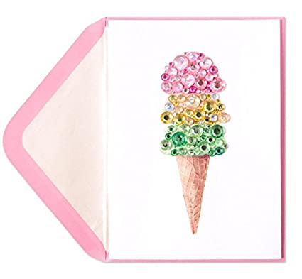 Papyrus Birthday Card Jeweled Ice Cream