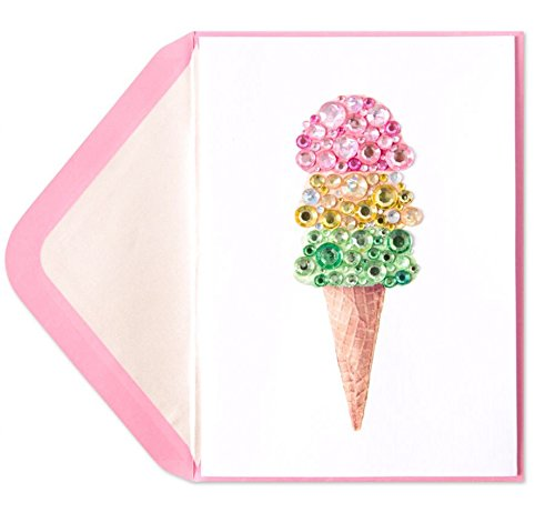 Papyrus Birthday Card Jeweled Ice Cream ()