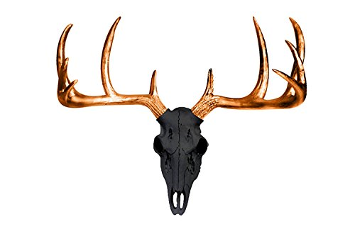 Black + Metallic Bronze Antlers Large Deer Skull by Wall Charmers | Faux Head Mount Bust Fake Animal Resin Taxidermy Sculpture Stag Buck Antler Fauxidermy Mounted Replica Decor Art Skull Head Bust Sculpture