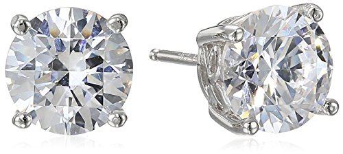 Platinum Plated Sterling Silver Stud Earrings set with Round Cut Swarovski Zirconia (4 cttw)